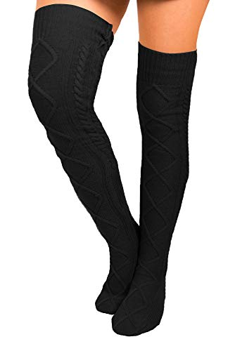 Floral Find Women's Cable Knit Knee-High Winter Boot Socks Extra Long Thigh Stocking (Black)