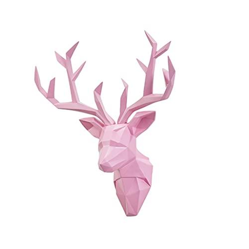 Montaje en pared Ciervo Cabeza Pared Colgando Pared Decoración Colgante Animal Escultura Sala De Estar Porche Fondo Pared Creativo Accesorios Cabeza de Animal (Color : Pink)