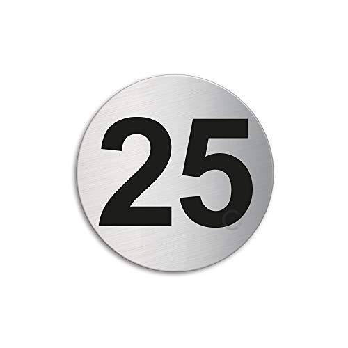 Plaque Numéro de porte 25 | Ø 60 mm autocollant | acier inox brossé 7294-25