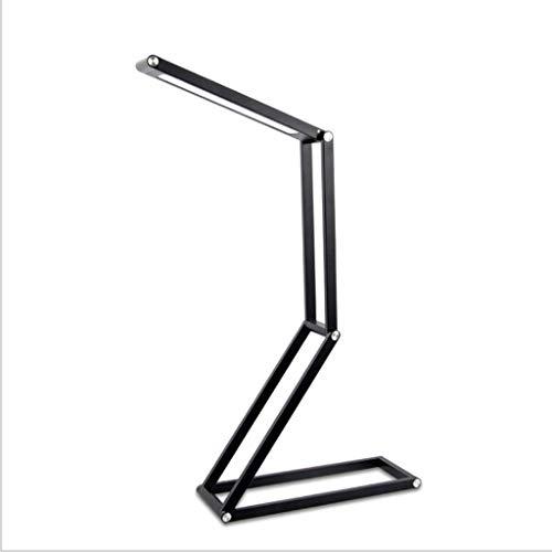 Lampe de Bureau LED Eye Protection Lampe de Table Touch Dimmable Pliable USB Rechargeable Lecture Bureau Lampe Bureau Ménage en Métal Table Light 3W Lampe de Table (Color : Black)