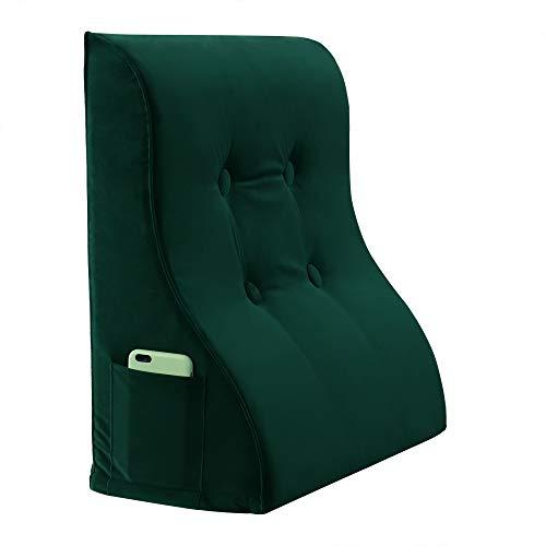 VERCART Keilkissen Rückenkissen Nackenkissen Rückenlehne Lendenkissen Rückenstütze Lesekissen Beinkissen Kopfkissen Kissen für Bett Sofa und Couch mit Waschbar Bezug Samt Grün 60cm