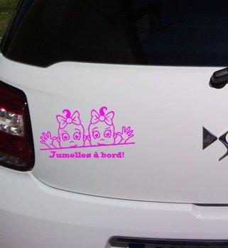 Sticker bébé jumelles à bord! (Rose)
