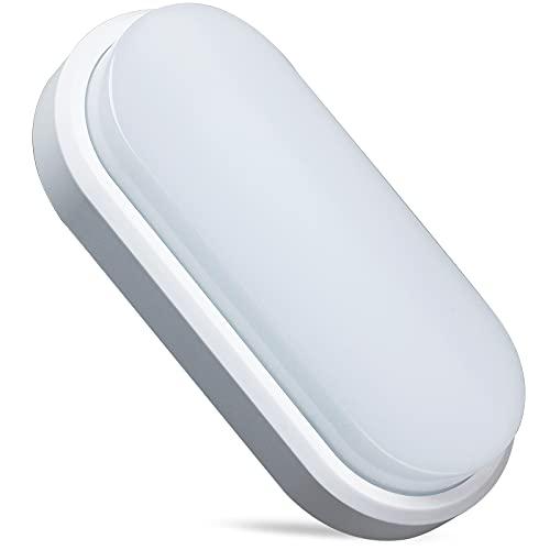 REYLAX® LED Lámpara de Pared Ovalada, 15W Blanco Cálido 3000K 1250lm, ángulo de Haz de 180°, Impermeable IP65, Aplique de Pared Interior y Exterior, Para Baño Terraza Pasillo, Iluminación de Seguridad