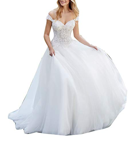 Melisa Women's Off The Shoulder Detachable Sleeve Lace Beaded Wedding Dresses for Bride with Train Bridal Ball Gown Ivory