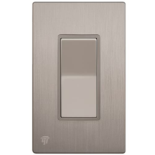 ENERLITES Elite Series Decorator Light Switch with Brushed Screwless Wall Plate, Single Pole, 3 Wire, Grounding Screw, Residential Grade, 15A 120V, UL listed, 91150-NKWBP, Nickel with Wall Plate