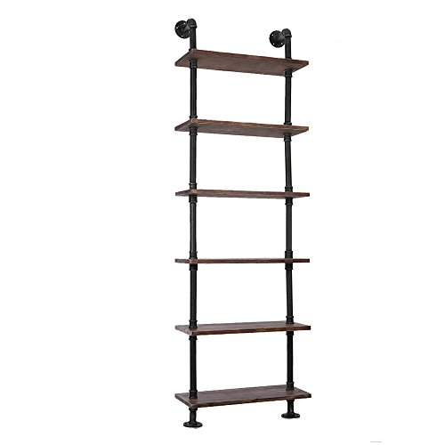 IKAYAA 6 Étagère Rustic Industrial Ladder Étagères murales Wood Planks DIY Iron Pipe Standing Book Shelf Utility Storage Rack