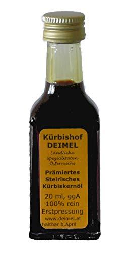 20ml Probierangebot - Reines Steirisches Kürbiskernöl ggA. vom Kürbishof DEIMEL - Mit Herkunftsgarantie - Direkt von uns als Erzeuger geliefert - Jährlich prämierter Kürbiskernölerzeuger
