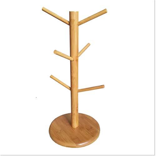 Picturer7 Mug Rack Arbre, amovible en bambou Mug Café Tasse à thé de rangement organisateur support, support pour cintre avec 6 crochets