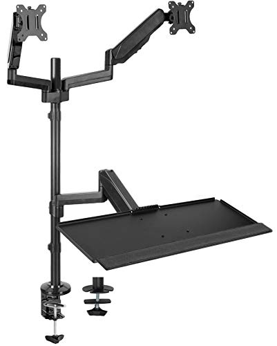 VIVO Black Dual Monitor Sit-Stand Height Adjustable Workstation, Standing Desk Mount with Pneumatic Spring, Holds 2 Screens up to 32 inches STAND-SIT2B