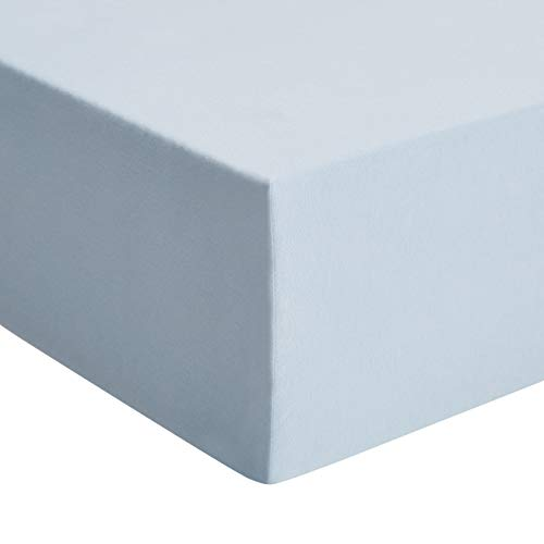 Amazon Basics - Premium-Spannbetttuch, Jersey, Hellblau - 80 x 200 cm