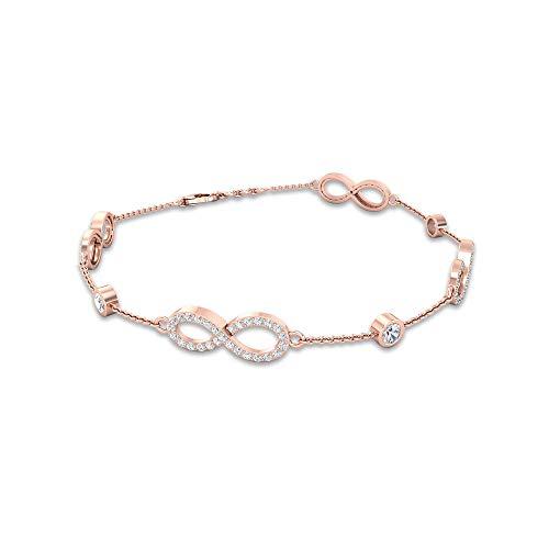 1.03 quilates certificado por IDCL Moissanite Infinity Station pulsera, minimalista apilable mujer cadena eslabón pulsera ajustable, 10K Oro rosa 6 Inches