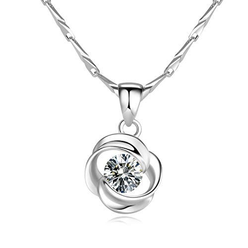 925 Sterling Silver Necklace Twist symmetry Cubic Zirconia Pendant For Women 18quot Gift Jewelry With a Beautiful Box for Girls