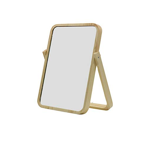 Hosoncovy Wooden Vanity Mirror Makeup Mirror Portable Wooden Table Mirror with Stan Folding HD Rectangule Free Standing Travel Bathroom Mirror Desk Mirror (White)