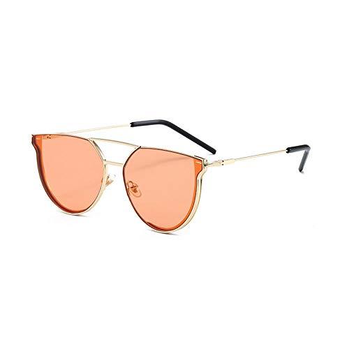Gosunfly Gafas de sol de verano para hombre, gafas de montura grande, gafas de sol polarizadas, espejo minimalista masculino, montura dorada, tabletas de naranja océano