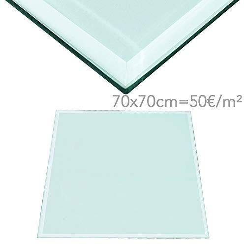 Rapid Teck® 50€/m² Glasplatte Eckig 700 x 700mm Glastisch Tischplatte aus gehärtetem Glas Tisch Glasscheibe 6mm Dick