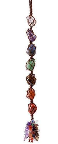 Top Plaza 7 Chakra Gemstones Reiki Healing Crystals Hanging Ornament Home Indoor Decoration Window Car Hanging Ornaments for Good Luck Yoga Meditation Protection - Tumbled Palm Stones