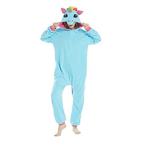 LSERVER Ropa de Dormir Disfraz de Cosplay para Adultos Traje de Unisexo Pijama de Forro Polar de Otoño e Invierno Estilo de Animales, Caballo Azul, S