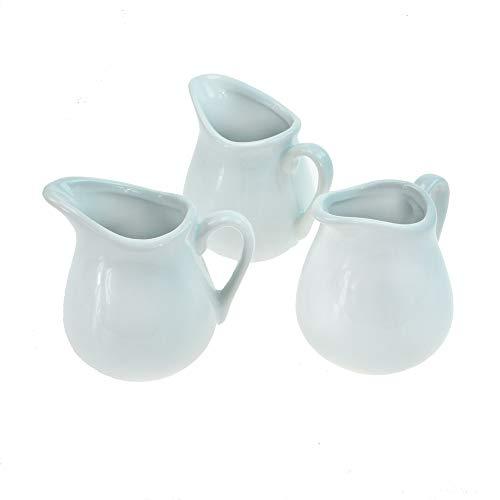 ROTIX 3 x Milchkännchen 70 ml Milchgießer Sahnekännchen Porzellan weiß 8 cm hoch 3er-Set