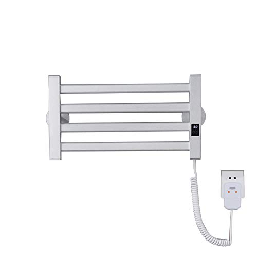 Toallero calefactable Smart Touch, baño Blanco / negro Toalla de calefacción eléctrica Radiador Montado en la pared, material de acero con bajo contenido de carbono, IPX4 a prueba de agua,White