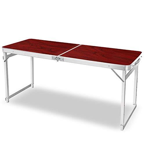 JCCOZ -T Mesa plegable para camping, altura ajustable, mesa de picnic portátil con altura ajustable, mesa plegable para camping al aire libre, barbacoa de fiesta T (color: rojo)