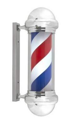 Pirulo, palo o poste de barbero vintage giratorio con luces