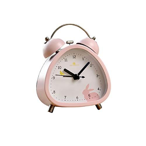 Reloj despertador decorativo con dibujos animados pequeño para mesita de noche, reloj creativo para niños, con personalidad dedicada a estudiantes y alarma luminosa fácil (color: B)
