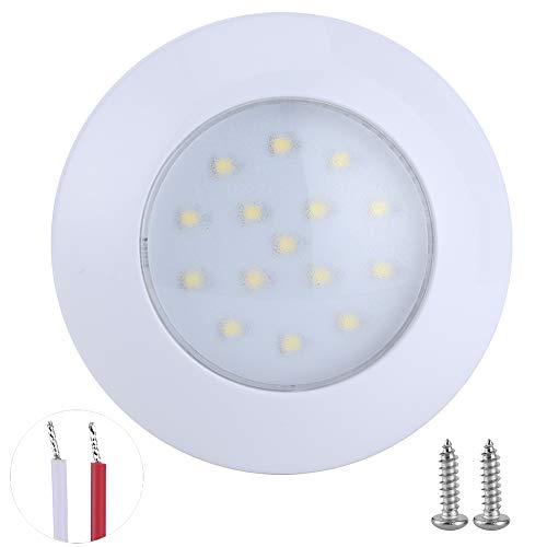 15 LED RV Interior Domo Puck Luz Redonda IP67 Impermeable 5000‑6000K 3W 300LM Lámpara de techo de automóvil 95mm 12V-24V