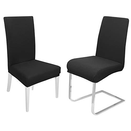 DecoHomeTextil Universal Stretch Uni Stuhlhusse Stuhlhussen Husse Hussen 6er Set Schwarz Farbe und Set Größe wählbar Stuhlbezug...