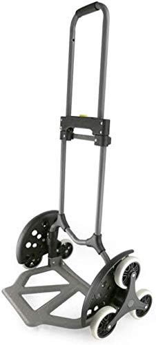 Desconocido Carrito de Acero Resistente para la Compra, para escaleras, Equipaje, Coche, portátil, Plegable, 6 Ruedas, Color Negro