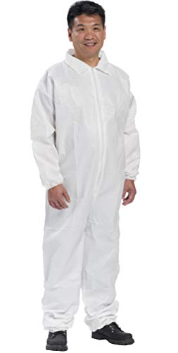 AMZ Polypropylene Overall. White Adult Disposable Overall Large. Zipper Front Entry, Elastic Wrists and Open Cut Elastic Ankles. Unisex Workwear for Industrial Applications. Full Body Suit.