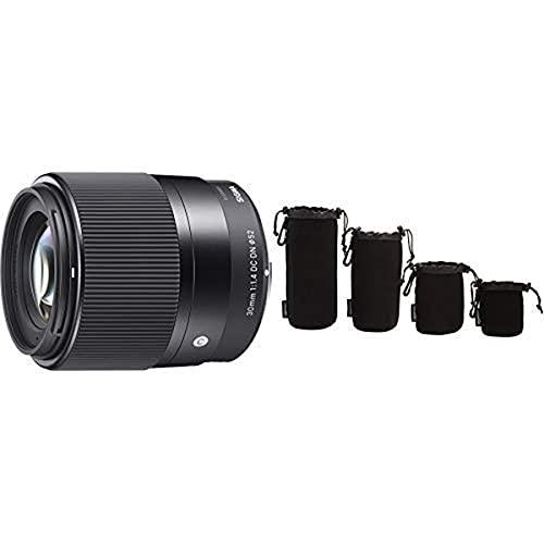 Sigma 30mm F1,4 DC DN Contemporary Objektiv (52mm Filtergewinde) für Sony-E Objektivbajonett Amazon Basics - Wasserdichte Schutzbeutel für Kamerobjektiv