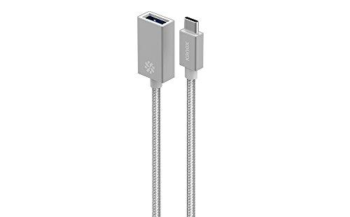 KANEX USB-C/Thunderbolt 3 auf USB 3.0 Adapter aus Aluminium - Silber [volle USB 3.0 Geschwindigkeit, USB-C männlich auf USB-A weiblich, 21 Zentimeter langes Kabel] - K181-1034-SV8I