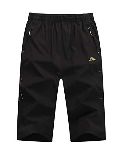Homme Pantacourt Pantalon Décontractée Escalade Outdoor Sport Jogging Séchage Rapide Respirant Noir 3XL