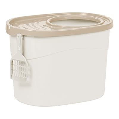 IRIS USA Top Entry Cat Litter Box with Scoop TECL-20