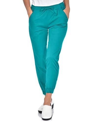 Mini Marilyn Scrub Joggers 4-Way Stretch Elastic Waistband Four Pocket Jogger Pants Teal
