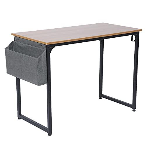 FECAMOS Escritorio de computadora de 100x47x74cm, Marco de Metal de Escritorio de PC Simple para habitación de niños para Sala de Estar de Oficina