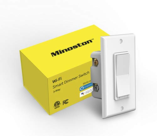 Smart Light Switch, 3-Way WiFi Dimmer Switch Compatible with Dimmable LED and CFL, Work with Alexa and Google Assistant, No Hub, Neutral Wire, ETL and FCC Listed, Minoston (MS10W)