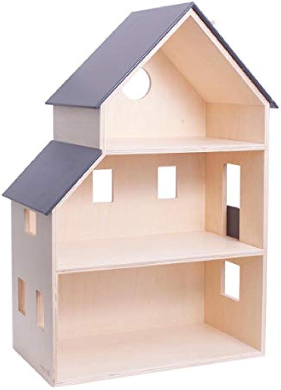 Sebra Puppenhaus, Spielhaus in dnischem Design, in drei Etagen eingeteilt, aus Sperrholz, B 39 cm x H 60 cm x T 22 cm