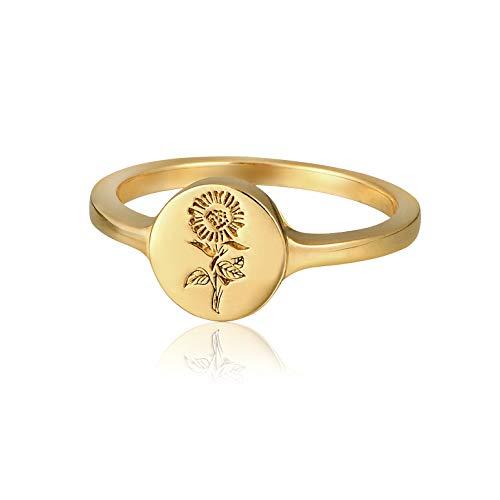 YeGieonr Srebro wysokiej próby 925 dla kobiet - pozłacany 18-karatowym złotem mini słonecznik grawerowany sygnet pierścień minimalistyczny oświadczenie pierścionek delikatny spersonalizowany biżuteria prezent dla kobiet/dziewcząt e srebro wysokiej pr