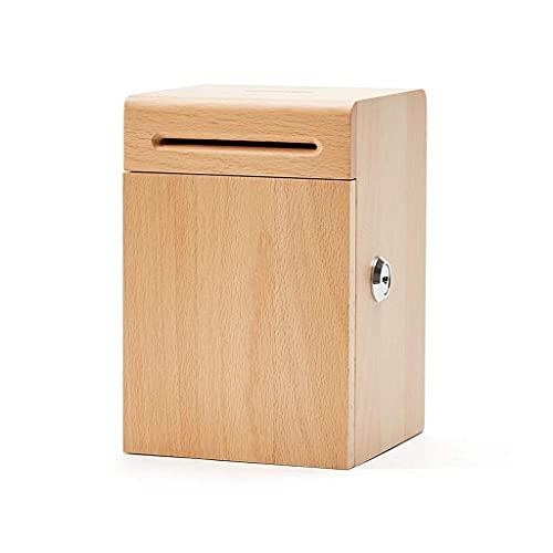 XHAEJ Hucha para niños, caja fuerte para dinero, hucha de madera para el hogar, hucha de gran capacidad depositable y extraíble