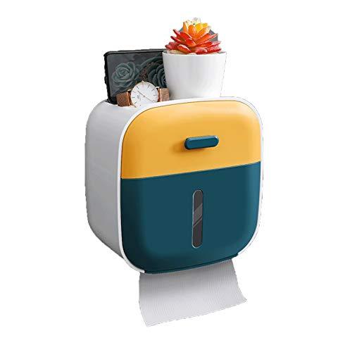 GAONAN Soporte de papel de papel Tapete Adhesivo Montaje de pared Pañuelo facial Toalla de papel Dispensador de toallas, con estante y cajón, adecuado para baño Portarrollos para papel higiénico