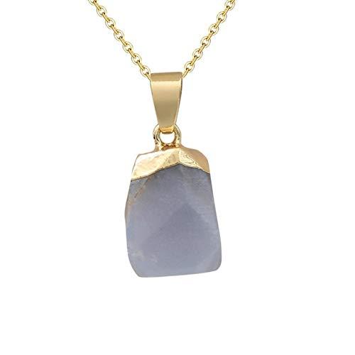 K-ONE Moda Opal Stone Cube Irregular Crystal Collares Natural Pink Crystal Colgante Gargantilla Collar Joyería Bohemia para Mujeres