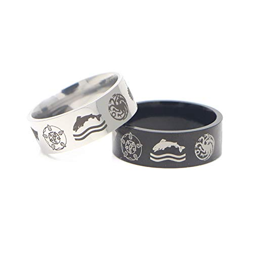 DDDDMMMY Punk Rings,Prince And Fox Couple Ring, Casual Couple Jewelry Ring For Men And Women, Is The Best Wedding Birthday Jewelry Gift For Him Or Her,Silver,12
