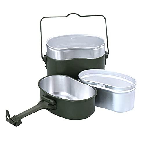 Camping CAFILLOS DE Cocina DE Cocina MEJO Kit, 3 en 1 Camping al Aire Libre Caja de Almuerzo Vajilla Pesca Pista de Senderismo Picnic Supervivencia Almuerzo Cajas Pot Pan Tazón Portátil