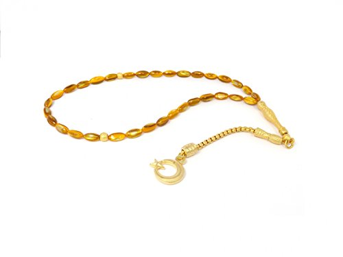 Remi Bijou Gebetskette - Tesbih 33 Perlen mit Anhänger 'Mond mit Stern' - Bernstein Farbe Orange
