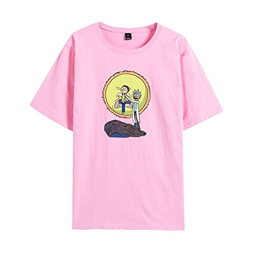 WFQTT Street Fashion T-shirt Rick and Morty Rick and Morty pour homme et femme, Rose, xxl
