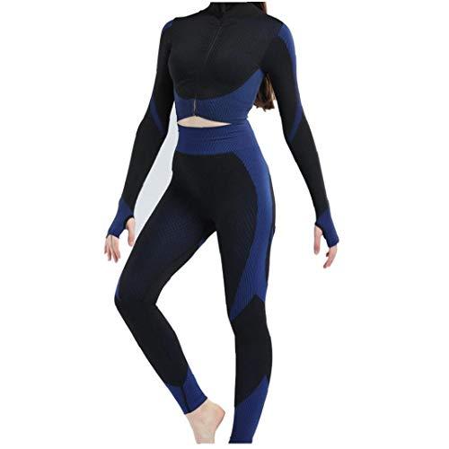 ZYCX123 3pcs sin Fisuras Las Mujeres Traje Yoga Escudo de Manga Larga Chaleco Polainas de Fitness Gimnasio chándal de Deporte de la Ropa del (Azul, S) Productos para el Hogar