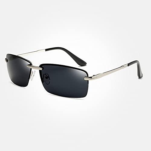 KUNIUO Gafas De Sol Rectangulares para Hombre, Gafas De Sol Sin Montura Polarizadas De Viaje para Hombre, Gafas De Pesca para Hombre, Gafas-Silver Gray