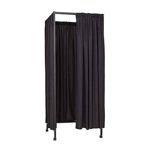 Don't Look at Me - Portable Changing Room Divider - Black Frame with Black Fabric and Casters
