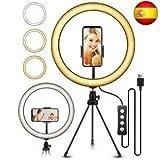 Aro de Luz Fotografia de Escritorio, 8'/20.4CM Anillo de Luz LED con Soporte Giratorio de teléfono, Movil Trípode y Wireless Control Remoto, Ring Light para Selfie, Maquillaje, Youtube, TIK Tok etc